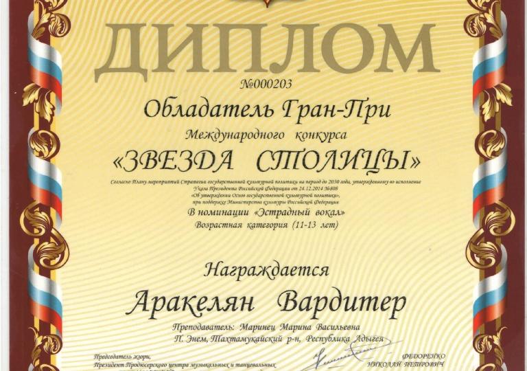 диплом звезда столицы